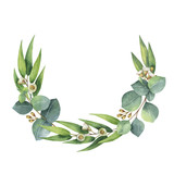 Watercolor vector wreath with green eucalyptus leaves and branches. - 134330040