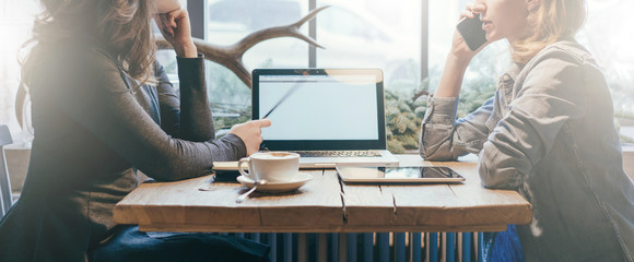 Teamwork, two young businesswomen sitting across table from each other. On table laptop, coffee cup and tablet computer. First girl showing pencil on computer screen, other is talking on cell phone. © foxyburrow