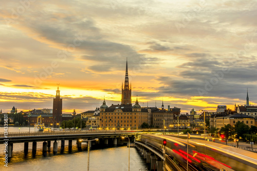 Poster View of beautiful sunset at Stockholm city, Sweden.
