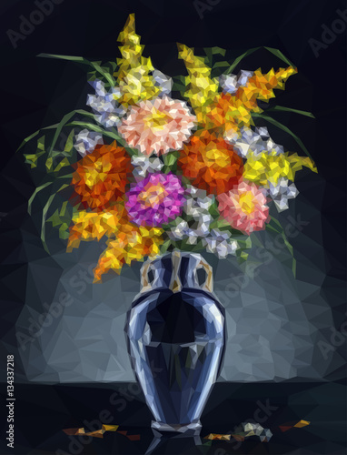 Plakat Flowers, Bouquet of Asters in a Pot, Low Poly Geometrical Polygonal Colorful Pattern. Vector