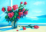 fresh roses on the windowsill and turquoise sea, painting, illus