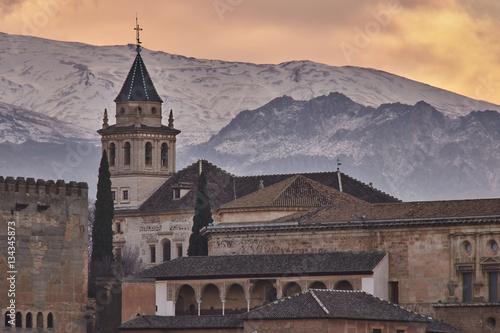 Poster Dawn in Alhambra of Granada.