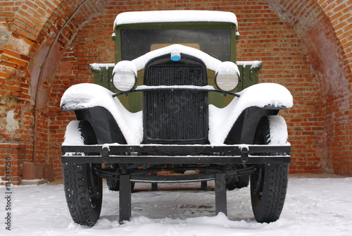 Poster The Second World War russian military automobile under the snow