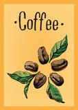 Fototapety Poster with a coffee beans and leaves and text in graphic style