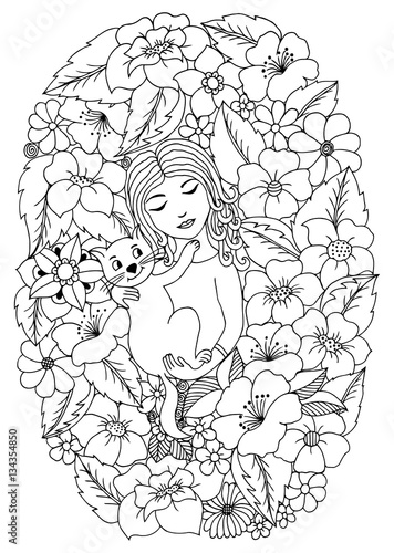 Vector illustration of a girl with a kitten in flowers. Black and white.