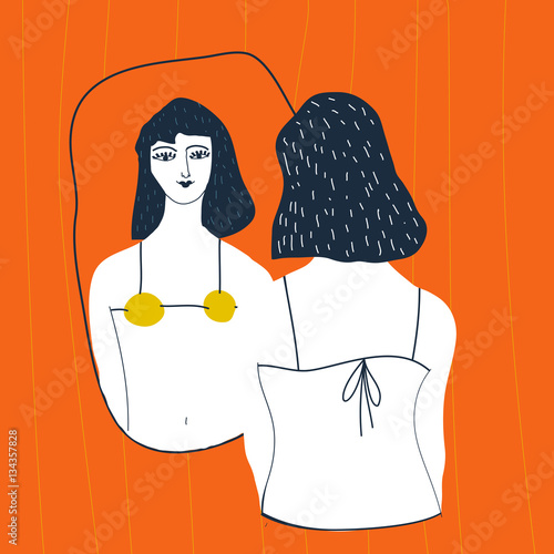 Narcissistic woman character looks in the mirror. Redhead woman in lingerie looks in the mirror. Vector illustration. Narcissism concept.  - 134357828