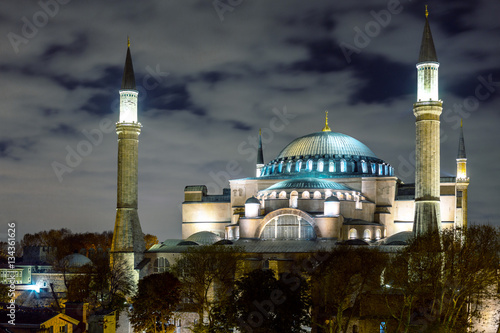 Poster Night View of Istanbul Downtown and famous Sophia Cathedral