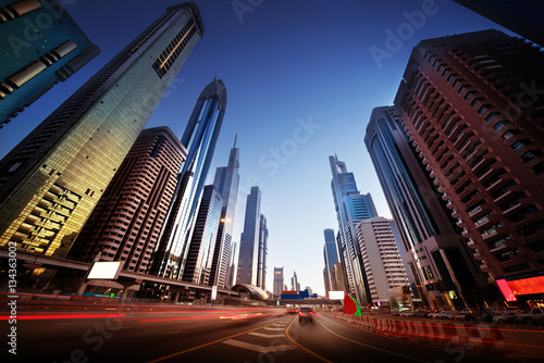 Poster  Sheikh Zayed Road in sunset time, Dubai, UAE