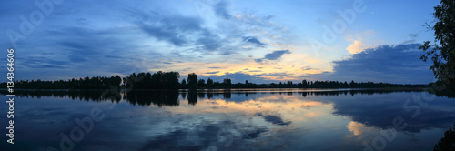 Poster Sunrise on the river Oka. Irkutsk region, Russia