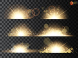 Fototapety Golden glitter bokeh lights and sparkles. Shining star, sun particles and sparks with lens flare effect on transparent background