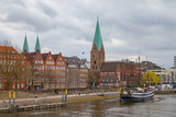 View of old town along Weser river