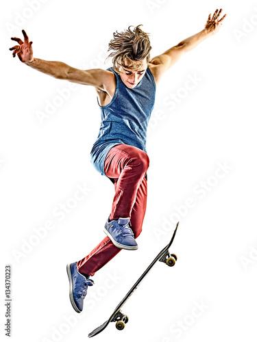 Plexiglas Skateboard one caucasian skateboarder young teenager man skateboarding isolated on white background