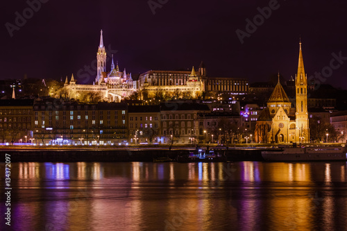 Poster Matthias Church and Fisherman Bastion in Budapest Hungary