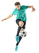 Quadro one caucasian soccer player man isolated on white background