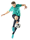 one caucasian soccer player man isolated on white background - 134373290