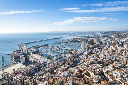 Foto op Plexiglas Japan Aerial view of Alicante with yacht marine port, Costa Blanca, Spain