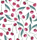Juicy tasty cherry pattern seamless watercolor hand sketch