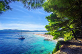 Beautiful beach Zlatni Rat or Golden Cape on island Brac in Croatia - 134396052