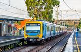 Melbourne Metro Train at Victoria Park station, Australia