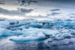 Icebergs floating in Jokulsarlon glacial lagoon