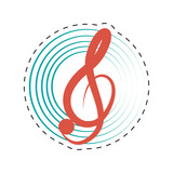 treble clef musical paper icon dotted line vector illustration eps 10