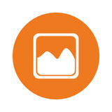 orange photograph or image gallery button image vector illustration design