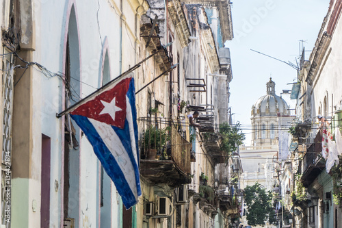 Aluminium Havana street view from La Habana Vieja, the most touristic place of cuba, on december 26, 2016, in La Havana, Cuba