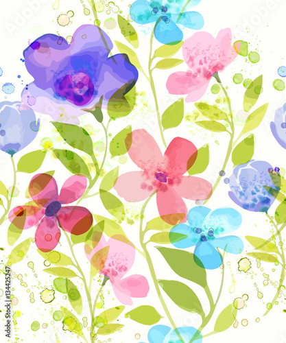 Cotton fabric Watercolor flower  seamless pattern. Vector illustration