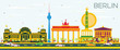 Berlin Skyline with Color Buildings and Blue Sky.