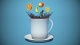 tea with fruit. 3d illustration