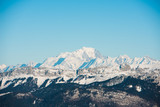 beautiful french alps winter panoramic view landscape with Mont Blanc landmark peak in the background