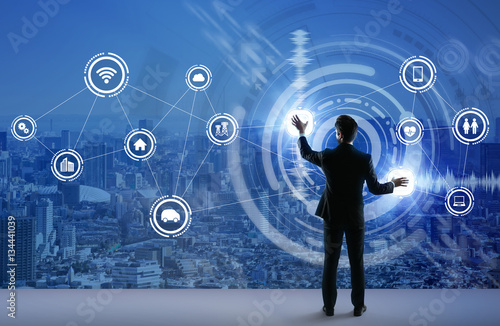 young business person and graphical user interface concept, Internet of Things, Information Communication Technology, Smart City, digital transformation, abstract image visual - 134441039