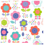 Seamless pattern of cute colorful floral and dot vector