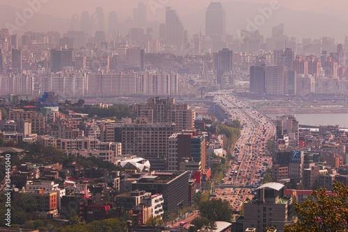 Poster seoul cityscape view, korea