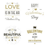 Set of Valentine day typography photo overlays, inspirational text and sun bursts.   labels. Custom quotes isolated on white background. Best for gift card, brochure. Stock vector