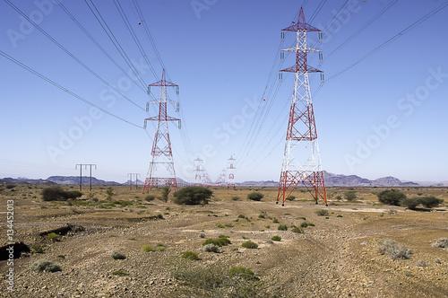 Poster Strommasten in der Wüste