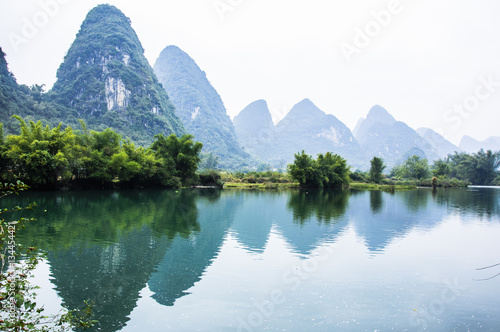 Plexiglas Guilin The beautiful mountains and river scenery