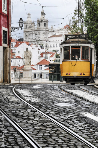 Old tram in the streets of Lisbon Poster