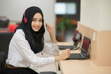 Muslim student girl using online education service. Young woman watching training course. Modern study technology. - 134467690