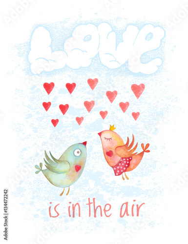 Poster Geometrische dieren Valentines Day hand drawn cartoon card. Couple birds flying in clouds in form of word love. Not autotrace