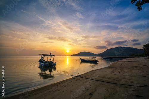 Poster, Tablou Panoramic sunset view of the fisherman boat at Permatang Damar Laut, Pulau Pinan