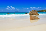 Rocks on tropical beach Seychelles