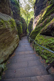 Mystical stairs between rocks near Rathen, Germany, Europe (Sach