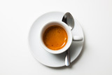 top view a cup of fresh espresso coffee, close-up - 134484083