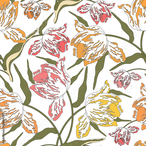 Fototapeta Pattern with tulips.Seamless vector floral print.Colorful textile texture