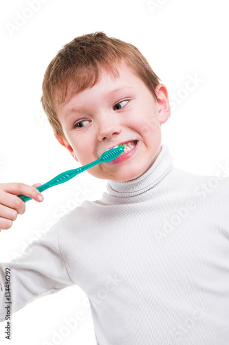 Poster Boy without baby teeth with toothbrush