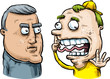 A cartoon of a serious older man looking at a silly, wacky younger man with his finger in his nose.