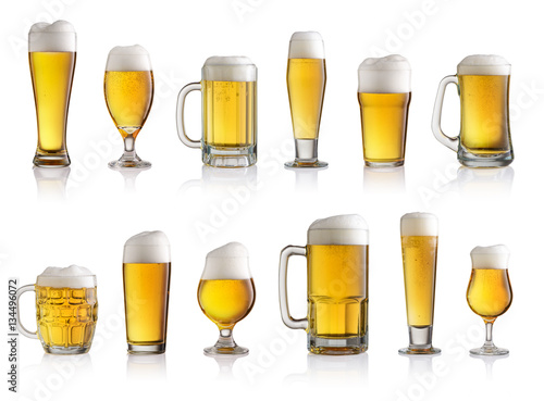 Collection of different glasses of beer isolated on white backgr