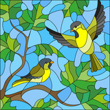 Illustration in stained glass style on the theme of summer, two siskin in the sky and maple leaves