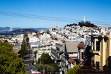 Blick auf den Coit Tower und Telegraph Hill in San Francisco, Kalifornien, USA.